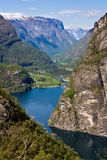 Mountain lake in Norway. The innermost parts of the Aurlandsfjord at Flam stock photography
