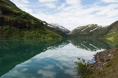 Mountain lake in Norway. An impressive view to a mountain lake in Norway Stock Photos