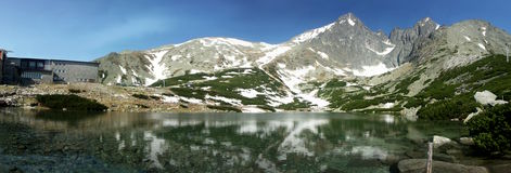 Mountain lake panorama Royalty Free Stock Images