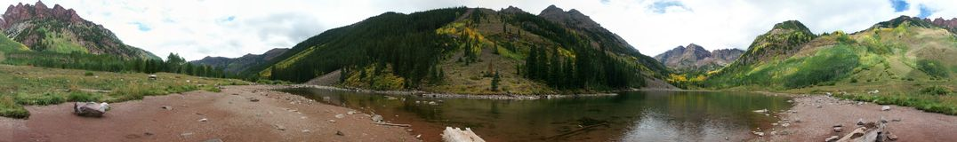 Mountain and Lake Panorama. 360 degree panorama of Maroon Bells mountains and lake in fall royalty free stock photos