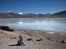 Mountain and lake panorama bolivia Stock Image