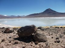 Mountain and lake panorama bolivia Royalty Free Stock Photo