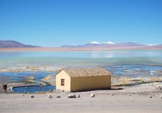 Mountain and lake panorama bolivia lagoon and hut Royalty Free Stock Photos