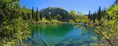 Mountain lake panorama stock image