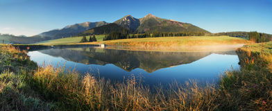 Mountain lake panorama -  Slovakia Tatras at sunrise Royalty Free Stock Photo