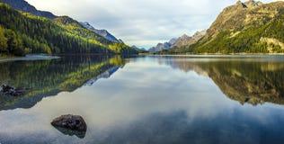 Free Mountain Lake Panorama With Mountains Reflection. Idyllic Look. Autumn Forest. Silvaplana Lake, Royalty Free Stock Images - 173716879