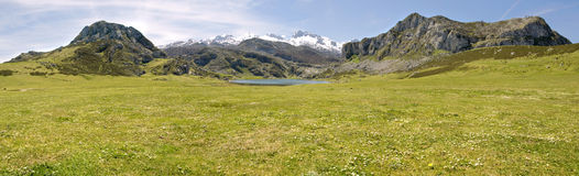 Mountain and lake (panoramic) Royalty Free Stock Photo