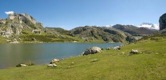 Mountain and lake (panoramic) Stock Photo