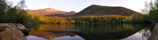 Mountain lake panoramic view. Crimea. Mountain lake panoramic view. Sunrise Stock Photo