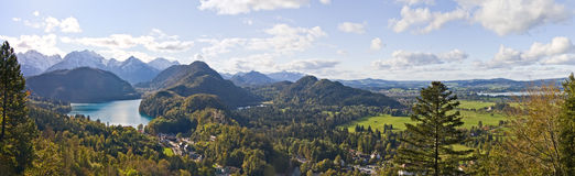 Mountain lake and panoramic view to Bavarian Alps Stock Image