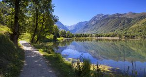 Mountain lake and path in the Pyrenees in the south of France Stock Images