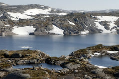 Mountain lake and permafrost. Picture of mountain lake and glaciers in central Norway Stock Images