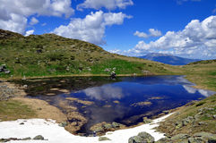 Mountain lake. A picturesque overview of glacial Kuatovo lake, in the Shar mountain, Kosovo royalty free stock images