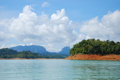 Mountain and lake. This place is in south of thailand.this lake occur from dam building Stock Photos