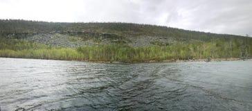 Mountain lake in the polar circle Stock Photography