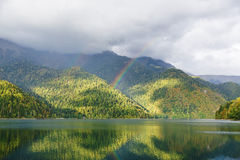 Mountain Lake and rainbow Royalty Free Stock Images