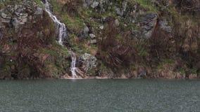 Mountain Lake on a Rainy Day stock video