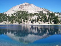 Mountain Lake Reflection. Reflective Lake Helen and Mount Lassen at Lassen Volcanic National Park Royalty Free Stock Image
