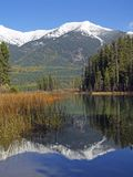 Mountain Lake and Reflection. This image of the mountains reflected in the water was taken in the fall in western MT Royalty Free Stock Image