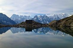Mountain lake reflection. Mountain and lake reflection in Mont Blanc trek , France Stock Photography
