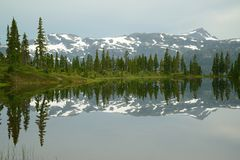 Mountain and lake reflection Stock Photography