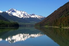 Mountain, lake and reflection Royalty Free Stock Images