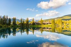 Mountain and Lake with reflection. On a beautiful and clear day in Jasper Canada stock image
