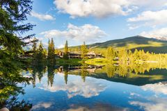 Mountain and Lake with reflection stock photo