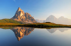Mountain lake reflection, Dolomites, Passo Giau Stock Photography