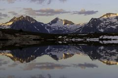 Mountain lake reflection landscape nature peak wallpaper stock image