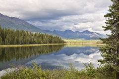 Mountain Lake Reflection, McCarthy Rd, Alaska Royalty Free Stock Images