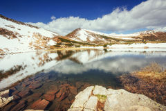 Mountain Lake. Reflection of sky in water. Spring landscape Royalty Free Stock Image