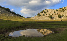 Mountain lake with reflection in water Royalty Free Stock Photography