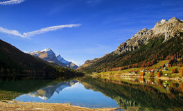 Mountain Lake. In relection in the middle of Switzerland Stock Images