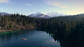 Mountain Lake Reverse Forest Aerial 4k stock video