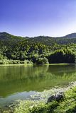 Mountain lake and river stock photo