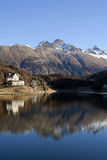 Mountain and lake in Saint Moriz Royalty Free Stock Image