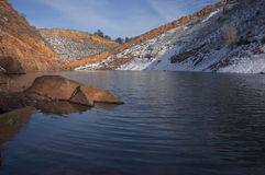Mountain lake with sandstone cliffs and snow Royalty Free Stock Image