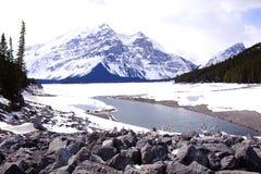 Winter mountain scene. Mountain lake scene in the Canadian Rockies duiring winter Royalty Free Stock Image