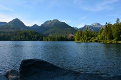 Lake Strbske Pleso in Vysoke Tatry mountains, Slovakia royalty free stock photo