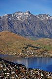 Mountain and Lake scenic View in Queenstown. View of Remarkables Range and Lake Wakatipu in Queenstown royalty free stock photos