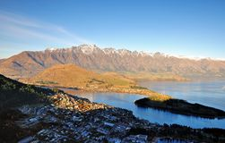 Mountain and Lake scenic View in Queenstown. View of Remarkables Range and Lake Wakatipu in Queenstown royalty free stock image