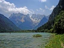 Mountain lake in the Sexten Dolomites Stock Photos