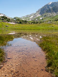 Mountain lake shallow on the mountains  background Royalty Free Stock Image