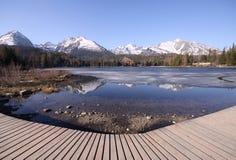 Mountain lake with sidewalk Royalty Free Stock Images