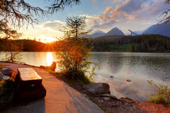 Mountain lake in Slovakia at sunset - Strbske pleso Stock Photos