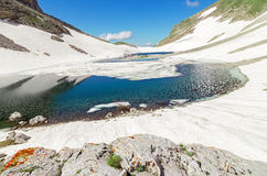Mountain lake and snow Stock Photography