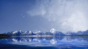 Mountain Lake with Snowfall 4K