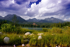 Mountain lake Strbske pleso, High Tatras, Slovakia Royalty Free Stock Images
