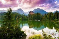 Mountain lake Strbske pleso, High Tatras, Slovakia Stock Images